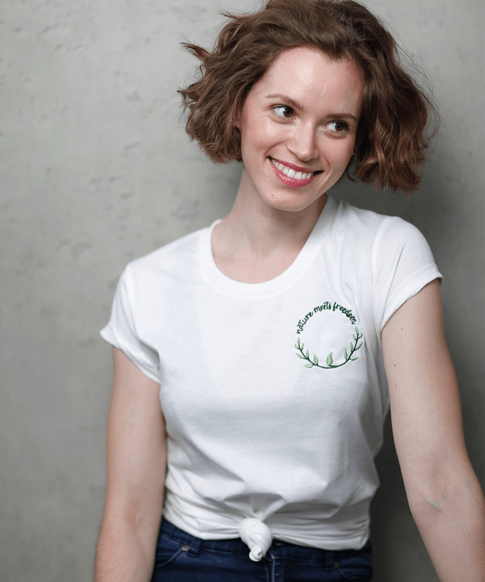 Nature Design Ladies Embroidery Shirt with Round Logo - MADE IN FREEDOM