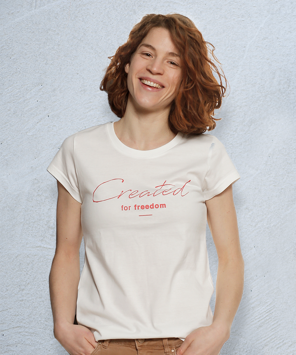 """made in freedom """"Created for Freedom"""" Print T-Shirt Capsleeve"""
